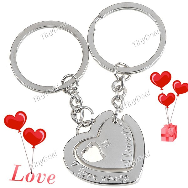 pair of heart shaped key rings key chains keychains key hold
